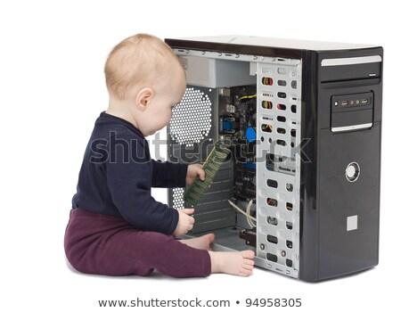 Jonge kind witte harde schijf Rood shirt Stockfoto © gewoldi