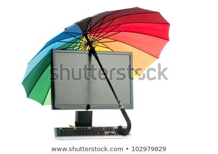 Laptop Computer Under Umbrella Vector Illustration Olga