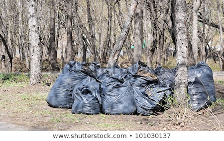 Pile of full black garbage bags with tall city buildings in the  stock photo © inxti