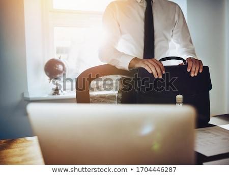 ejecutivo · empresario · aislado · blanco · ordenador · portátil - foto stock © Kurhan
