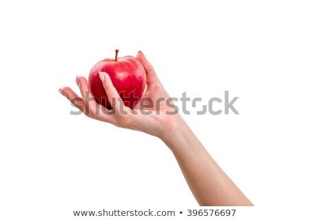 стороны яблоко изолированный белый женщину продовольствие Сток-фото © ozaiachin