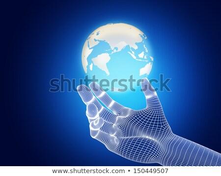 ręce · web · design · sferze · 3D · biały - zdjęcia stock © kbuntu