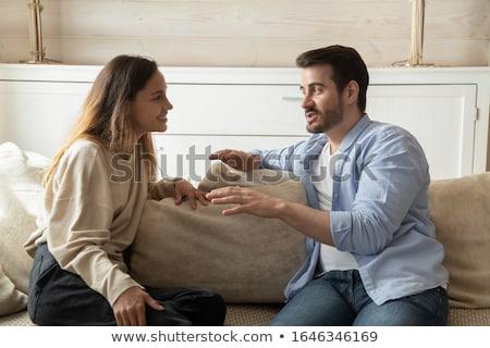 интересный разговор красивая женщина дата питьевой космополитический Сток-фото © lisafx