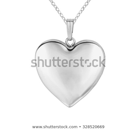 Сток-фото: серебро · сердце · ожерелье · изолированный · белый · женщину
