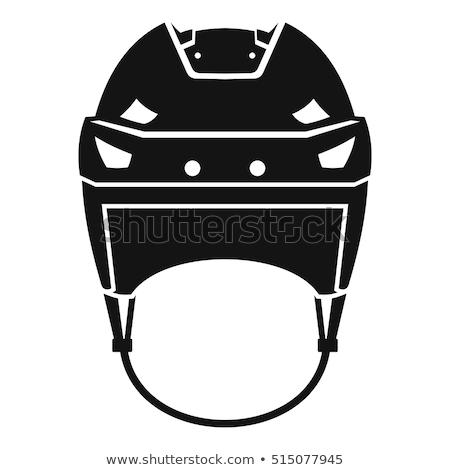 ホッケー · ヘルメット · 白 · サイト · 氷 · 冬 - ストックフォト © kitch