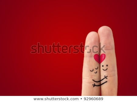 painted finger smiley valentines day stock photo © ra2studio