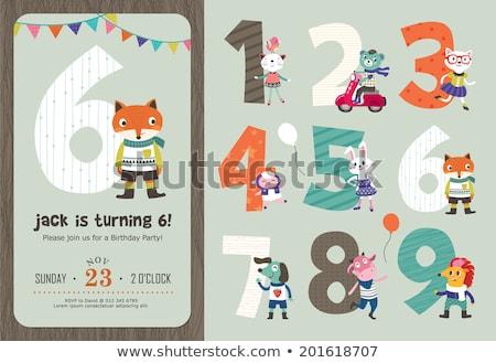 Születésnapi üdvözlet meghívó szerkeszthető sablon gyertya szám Stock fotó © thecorner