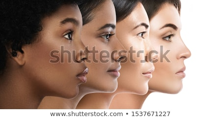 szépség · közelkép · portré · barna · hajú · gyönyörű · lány · nő - stock fotó © oneinamillion