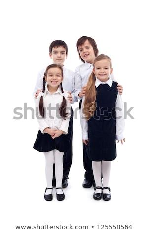 csoport · boldog · gyerekek · vissza · az · iskolába · izolált · lány - stock fotó © ilona75