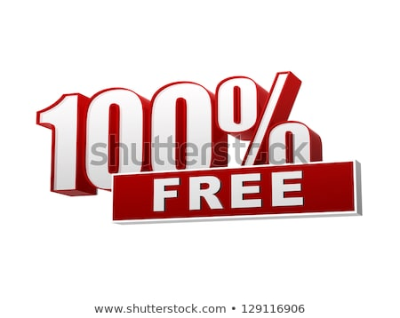 100 percentages free red white banner   letters and block stock photo © marinini