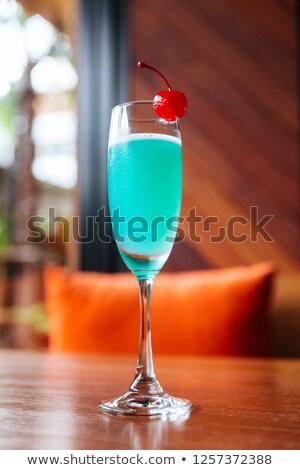 Bleu cocktail cerises bâton blanche fruits Photo stock © rogerashford