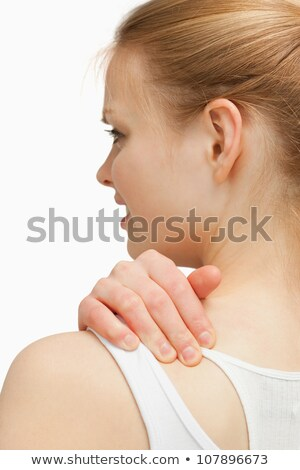kobieta · bolesny · szyi · biały · powrót - zdjęcia stock © wavebreak_media