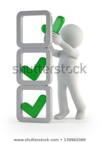 Stock photo: 3d Small People - Installation Of Check Marks