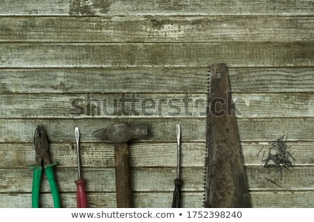 Aged grunge wood saw tool wooden board Stock photo © lunamarina