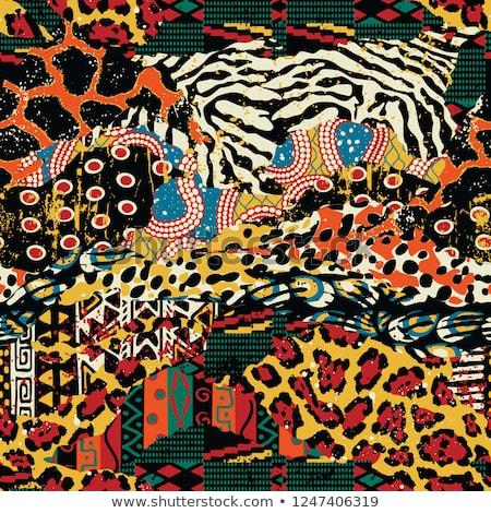 Stock photo: Giraffe fur texture vector seamless animal pattern background