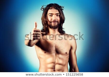 Primer plano Jesús Cristo sonriendo hombre arte Foto stock © zzve