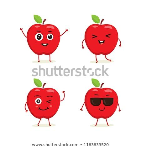 Foto stock: Bonitinho · maçã · primavera · abstrato · fundos · desenho · animado