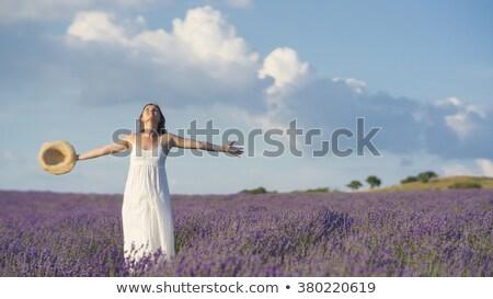 Foto stock: Mujer · sonriente · azul · vestido · campo · pie