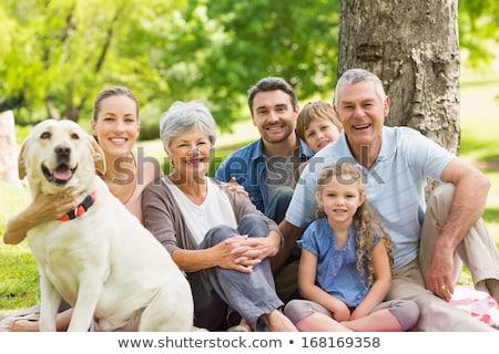 Foto stock: Retrato · familia · ampliada · relajante · parque · buena