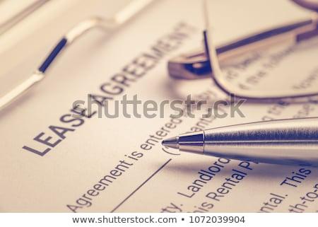 megállapodás · kulcs · toll · szimbolikus · miniatűr · ház - stock fotó © tomjac1980