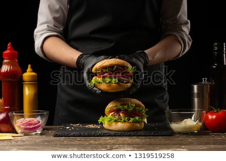 Stockfoto: Hamburger · mooie · home · restaurant · vlees