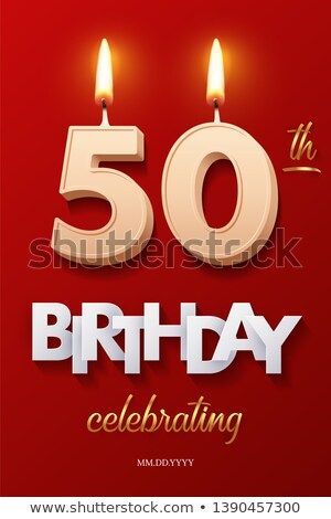 Stok fotoğraf: Burning Birthday Candles Number 50
