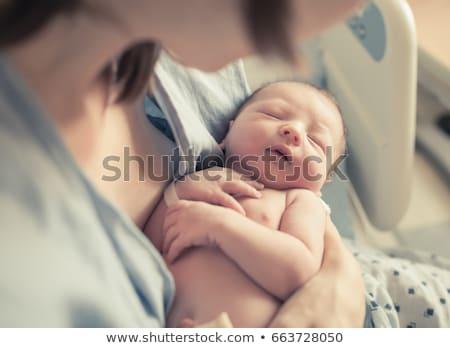 aile · bebek · mavi · kadın · gülümseme - stok fotoğraf © mayamy