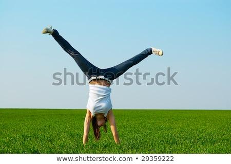 若い女性 フィールド 空 春 幸せ 青 ストックフォト © monkey_business