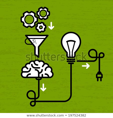 Invention mechanism with light bulb, brain and electric plug Stock photo © Winner