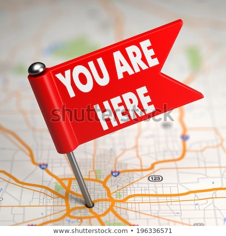 you are here   small flag on a map background stock photo © tashatuvango