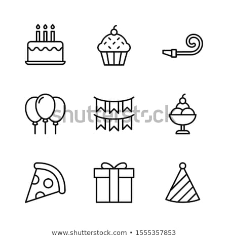 Outlined illustration of cupcake Stock photo © blackberryjelly