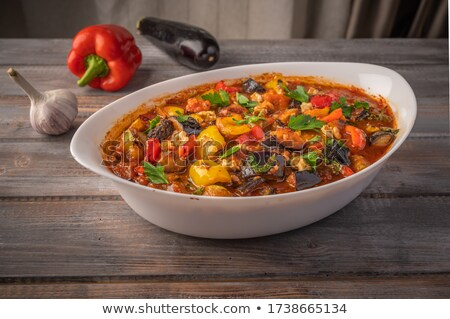 Eggplant stew with tomato and pepper Stock photo © dariazu