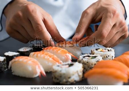 суши Ингредиенты имбирь риса соевый соус палочки для еды Сток-фото © zhekos