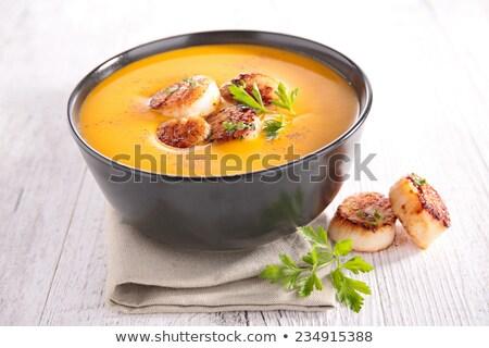 cream of pumpkin soup with scallops Stock photo © M-studio