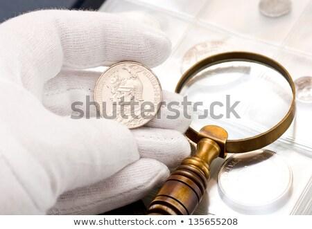 Złote monety biały działalności szkła informacji Zdjęcia stock © rufous