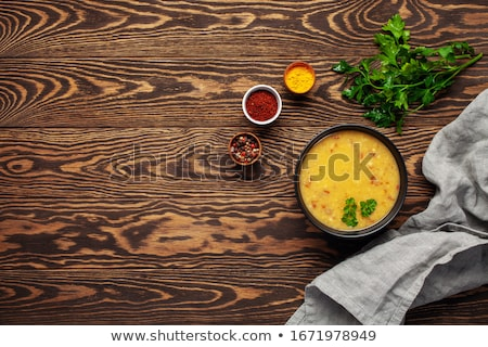 Wooden background with copy space -  Yellow lentils Stock photo © Zerbor