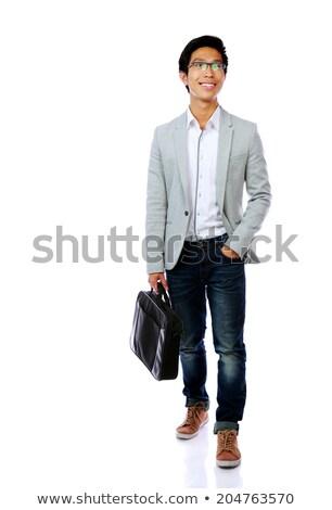 Tam uzunlukta portre gülen Asya adam ayakta Stok fotoğraf © deandrobot