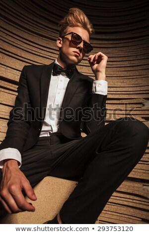 Szőke nő üzletember ül zsámoly egészalakos kép Stock fotó © feedough