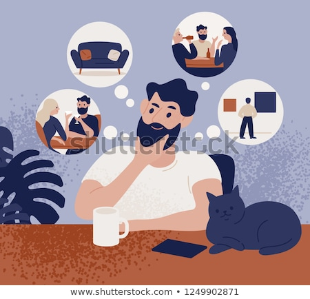 cartoon friendly man with thought bubble Stock photo © lineartestpilot