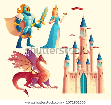 Foto stock: Brave Prince And Magic Dragon Vector Illustration