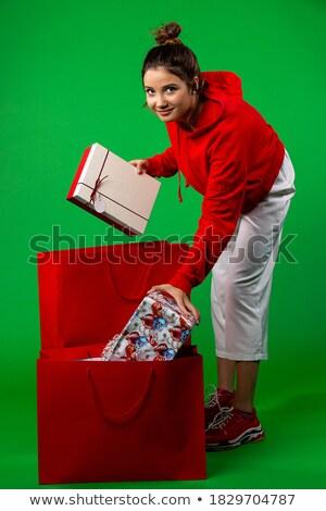 Noel · hediyeler · kadın · alışveriş - stok fotoğraf © nobilior