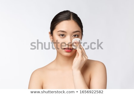 skin care woman removing face with cotton swab pad Stock photo © master1305