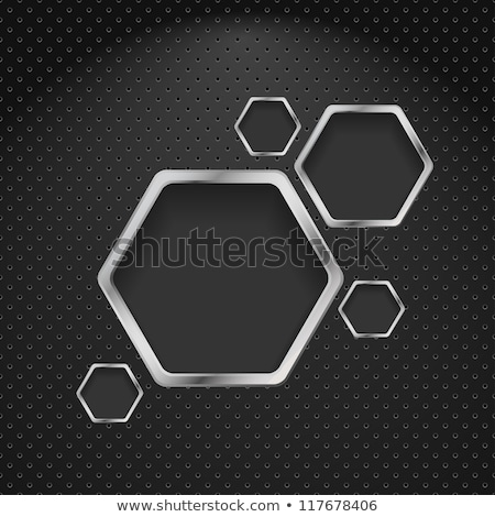 abstract metallic silver blank hexagon frame stock photo © saicle
