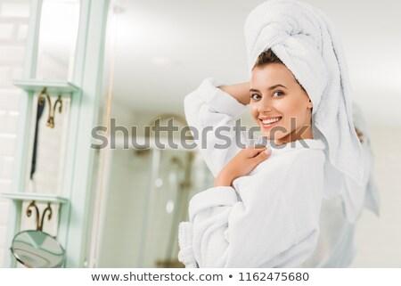 sağlıklı · genç · kadın · havlu · kafa - stok fotoğraf © deandrobot