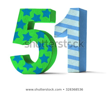 Colorful Paper Mache Number on a white background  - Number 51 Stock photo © Zerbor