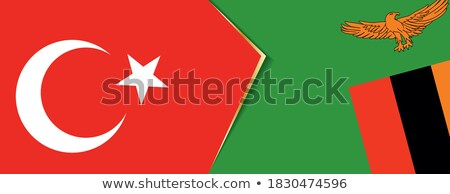 Stock fotó: Törökország · Zambia · zászlók · puzzle · izolált · fehér