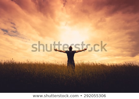 people on the grass with the raised hands stock photo © Paha_L