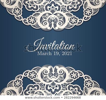 Vintage blu invito coprire crema pizzo Foto d'archivio © liliwhite
