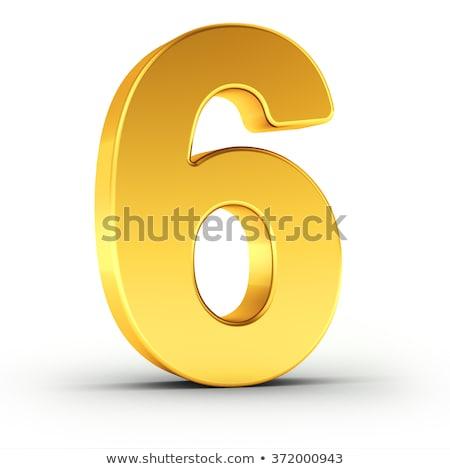 Numer sześć obyty złoty obiektu Zdjęcia stock © creisinger