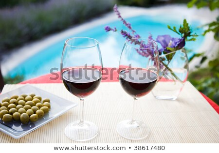 Relaxing Luxury Patio with Chair and Glass of Wine Stock photo © ozgur